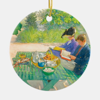 Holiday Reading by Carl Larsson Round Ceramic Ornament