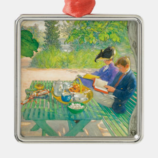 Holiday Reading by Carl Larsson Silver-Colored Square Ornament
