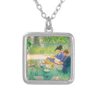 Holiday Reading by Carl Larsson Silver Plated Necklace
