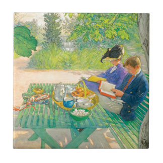 Holiday Reading by Carl Larsson Tile