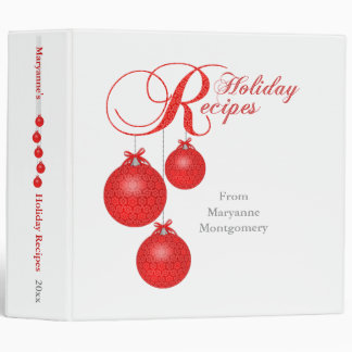 Holiday Recipes, Red Lace Ornaments 2 inch Vinyl Binder