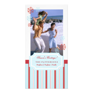 Holiday Red and Blue Stripe and Snowflakes Photo Card