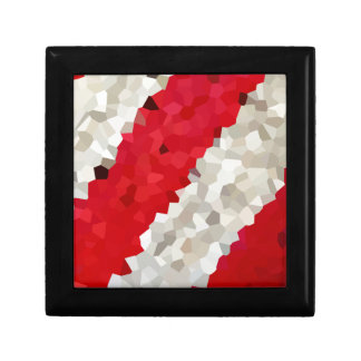 Holiday Red and White Candy Cane Mosaic Abstract Gift Box