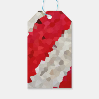 Holiday Red and White Candy Cane Mosaic Abstract Gift Tags
