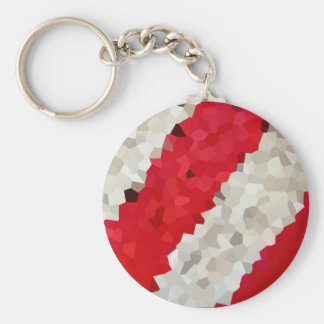 Holiday Red and White Candy Cane Mosaic Abstract Keychain