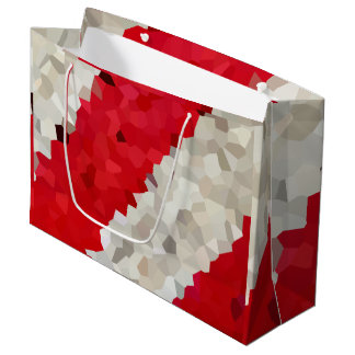 Holiday Red and White Candy Cane Mosaic Abstract Large Gift Bag