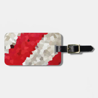 Holiday Red and White Candy Cane Mosaic Abstract Luggage Tag