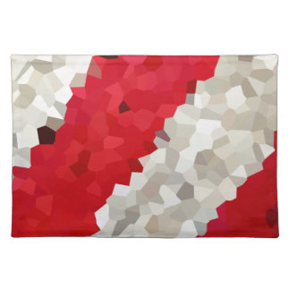 Holiday Red and White Candy Cane Mosaic Abstract Placemat