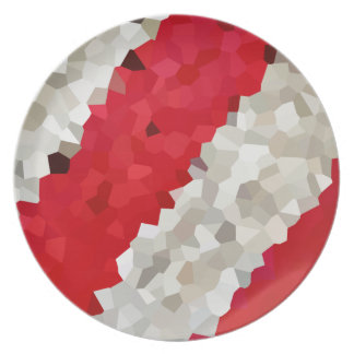 Holiday Red and White Candy Cane Mosaic Abstract Plate