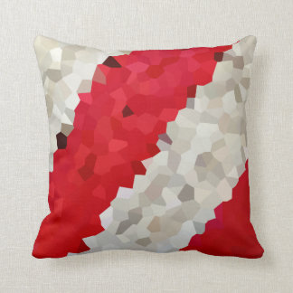 Holiday Red and White Candy Cane Mosaic Abstract Throw Pillow