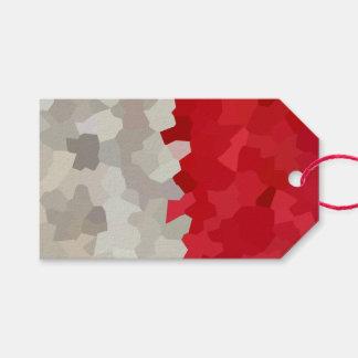 Holiday Red and White Santa Mosaic Abstract Gift Tags