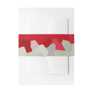 Holiday Red and White Santa Mosaic Abstract Invitation Belly Band