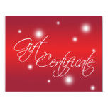"Holiday red glow retail business gift certificate 4.25"" x 5.5"" invitation card"