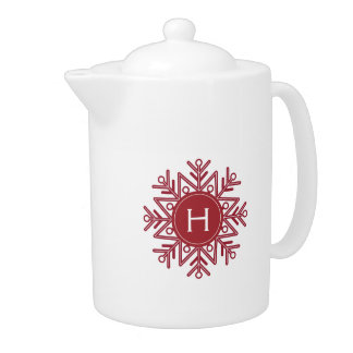 Holiday Red Snowflake Monogram