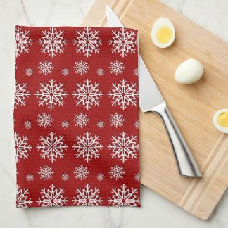 Holiday Red Snowflakes Kitchen Towel