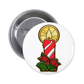Holiday Red & White Candle 2 Inch Round Button