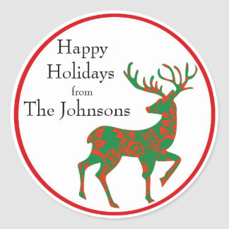 Holiday Reindeer Personalized Round Sticker
