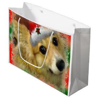 Holiday Rescue Welsh Corgi Large Gift Bag