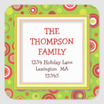 Holiday Retro Red & Green Polka Dot Address Square Stickers