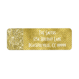 "Holiday Return Labels ""Chevron Gold Design"""