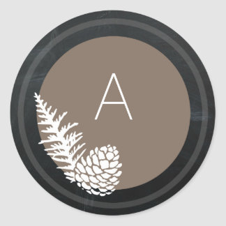 Holiday Rustic Pine and Chalkboard Monogram Classic Round Sticker