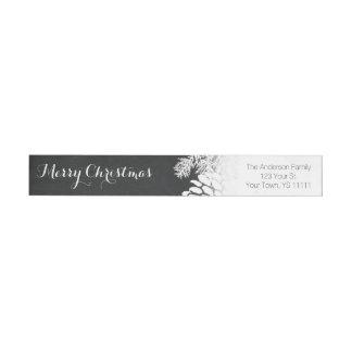 Holiday Rustic Pine and Chalkboard Return Address Wrap Around Label