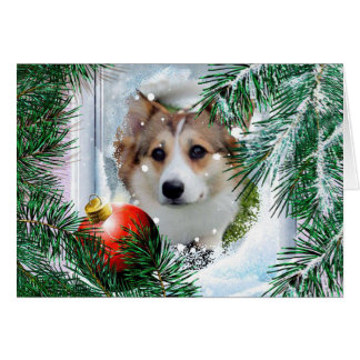 Holiday Sable Welsh Corgi in the Winter Window Card