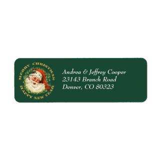Holiday Santa Pine Wreath Return Address Label