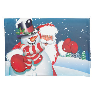 Holiday Santa & Snowman Pillowcase