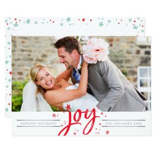 HOLIDAY SCRIPT JOY modern photo simple minimal Card