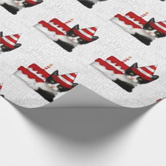 Holiday Season Birthday Kitty in a Party Hat Wrapping Paper