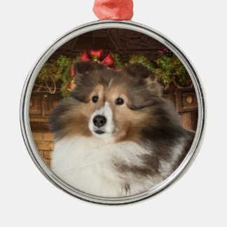 Holiday Sheltie Metal Ornament