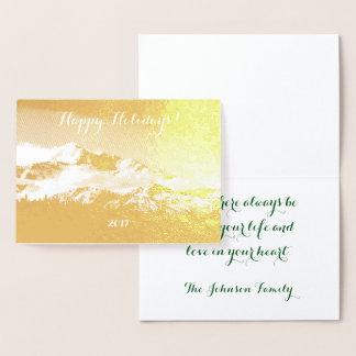 Holiday Shimmering Gold Foil Denali Mountain Foil Card