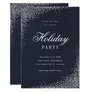 Holiday shine faux foil party invitation