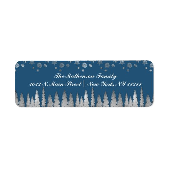 Holiday Silver and Blue Winter Wonderland Return Address Label