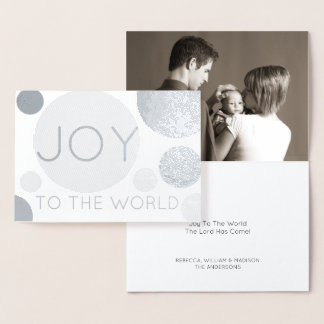 Holiday Silver Joy Modern Polka Dots Add Photo Foil Card