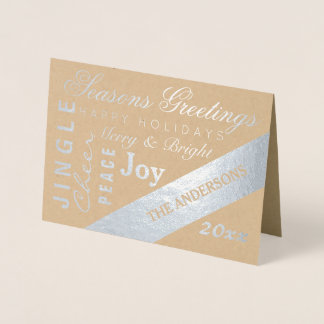 Holiday Silver Typography Add Photo Custom Year Foil Card