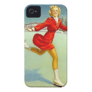Holiday Skaters Waltz Retro Winter Pinup Girl iPhone 4 Covers