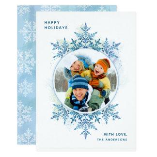 Holiday Snowflake Christmas Photo Card