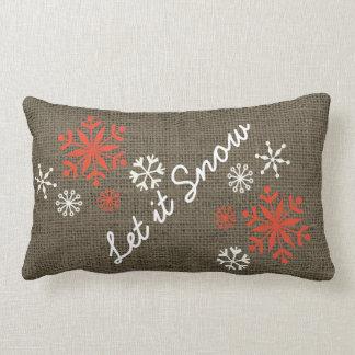 Holiday Snowflake Let It Snow Rustic Burlap Lumbar Pillow