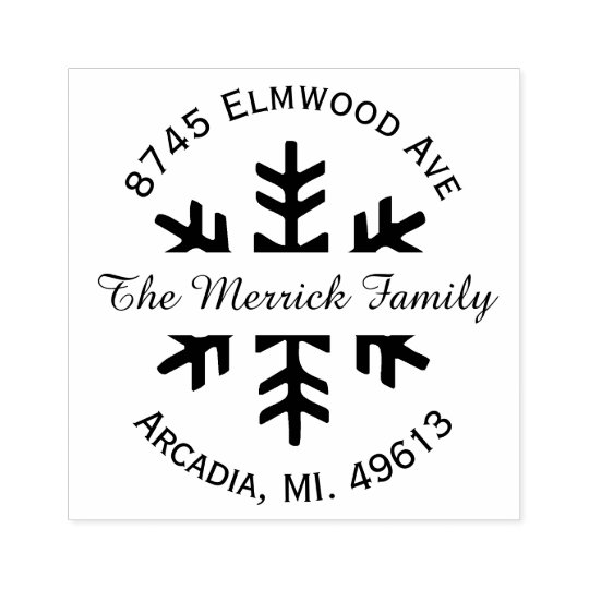 Holiday Snowflake Return Address Rubber Stamp