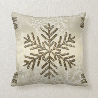 Holiday Snowflake with Gold Glitter Throw Pillow