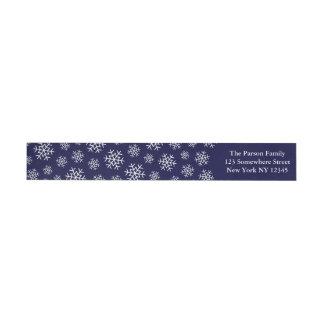 Holiday Snowflake Wraparound Label Navy Wraparound Return Address Label