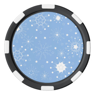 Holiday Snowflakes on Blue Poker Chip Set