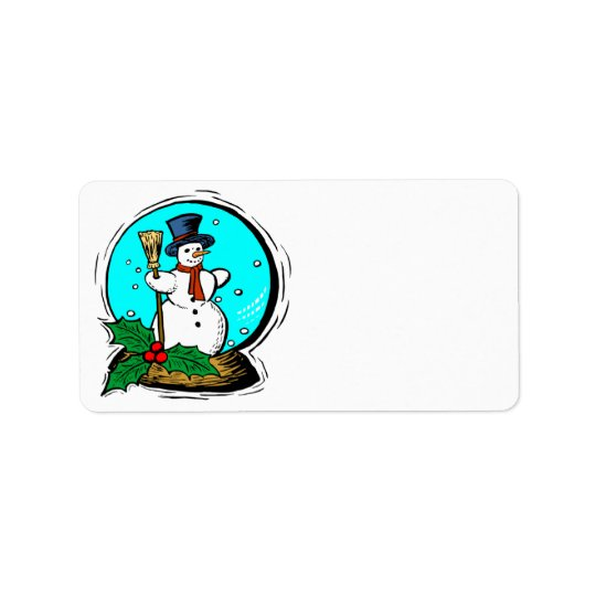 Holiday Snowglobe Customised Christmas Labels