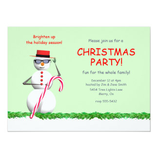 Holiday Snowman Christmas Party Card