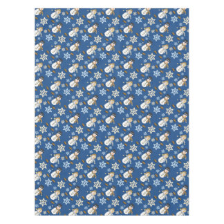 Holiday Snowman Snowflake Blue Tablecloth