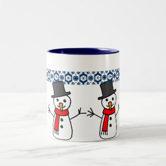 Holiday Snowmen Two-Tone Coffee Mug