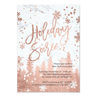 Holiday Soirée script white marble New Years Eve Card