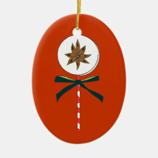 Holiday Star Anise LolliPop Illustration Ceramic Oval Ornament